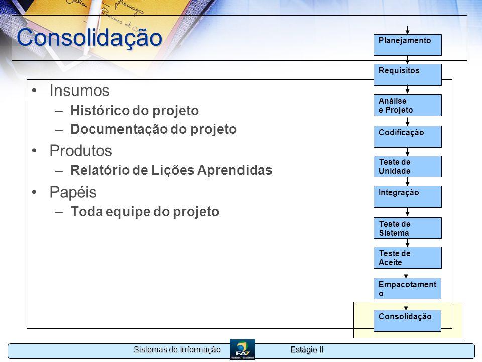 Consolidação Insumos Produtos Papéis Histórico do projeto