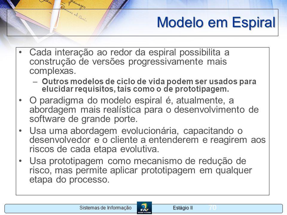 Modelo em Espiral Cada interação ao redor da espiral possibilita a construção de versões progressivamente mais complexas.