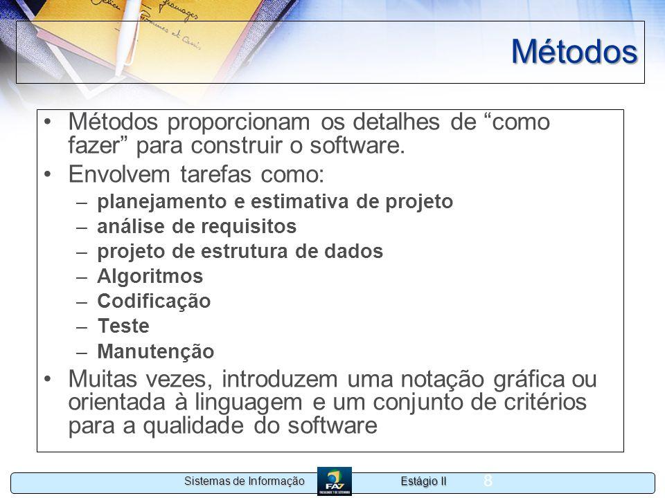 Métodos Métodos proporcionam os detalhes de como fazer para construir o software. Envolvem tarefas como:
