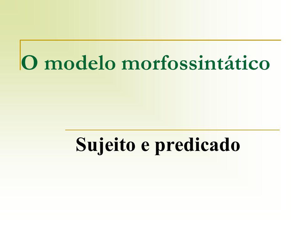 O modelo morfossintático