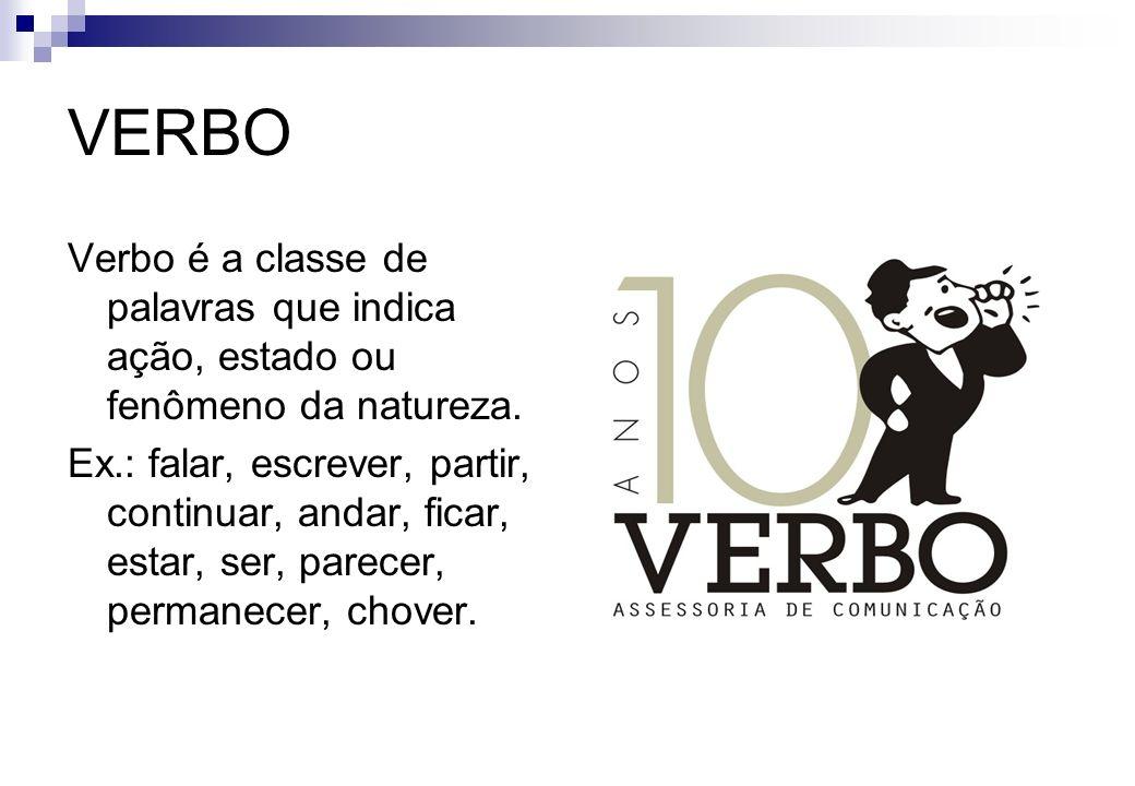 VERBO Verbo é a classe de palavras que indica ação, estado ou fenômeno da natureza.