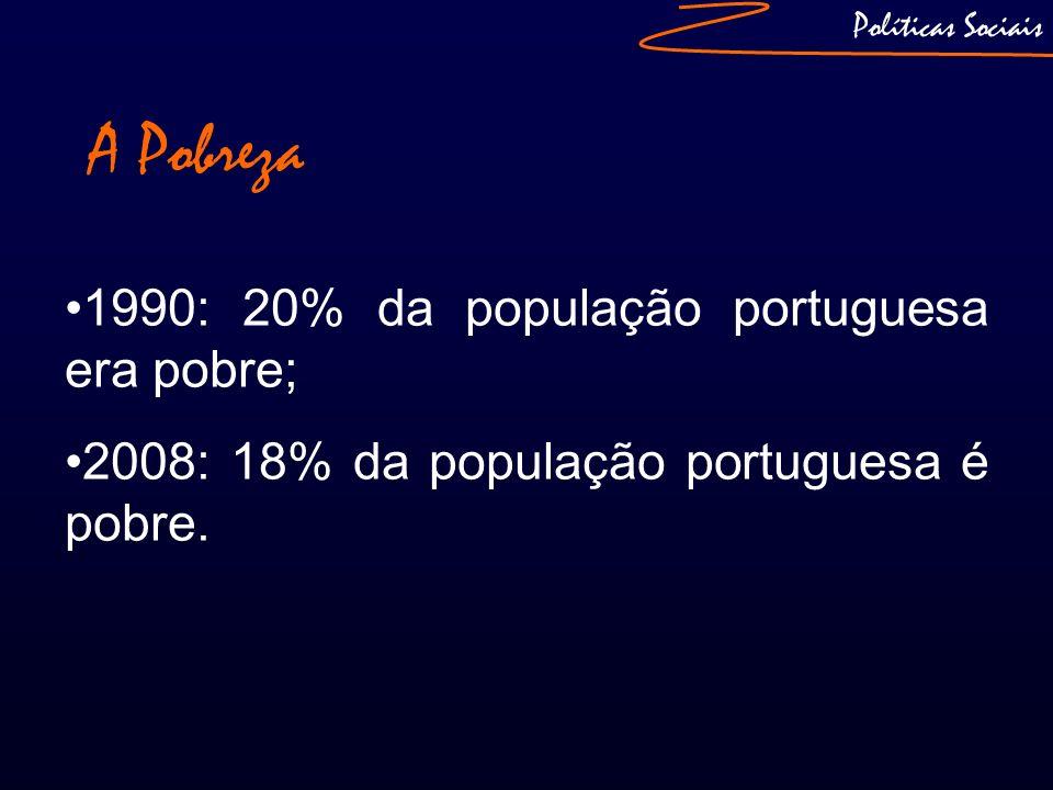 A Pobreza 1990: 20% da população portuguesa era pobre;