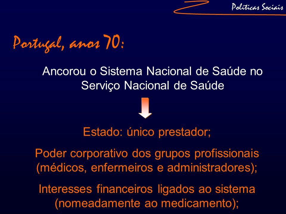 Políticas SociaisPortugal, anos 70: Ancorou o Sistema Nacional de Saúde no Serviço Nacional de Saúde.