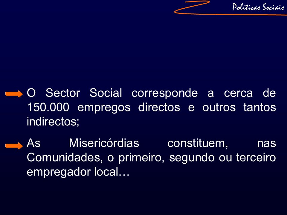 Políticas SociaisO Sector Social corresponde a cerca de 150.000 empregos directos e outros tantos indirectos;