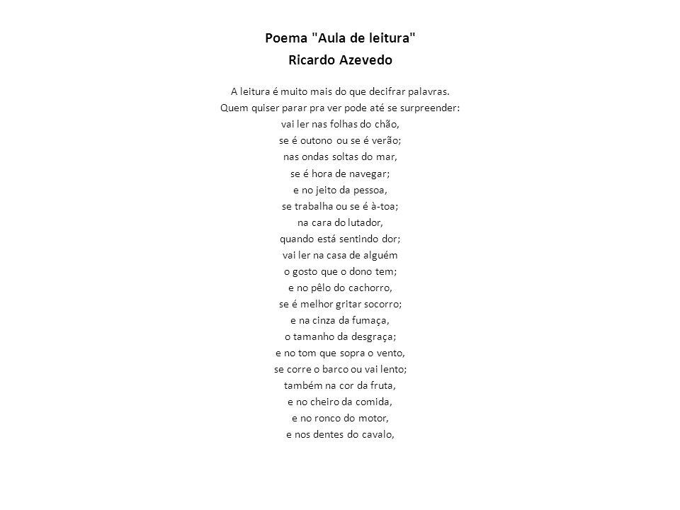 Poema Aula de leitura Ricardo Azevedo