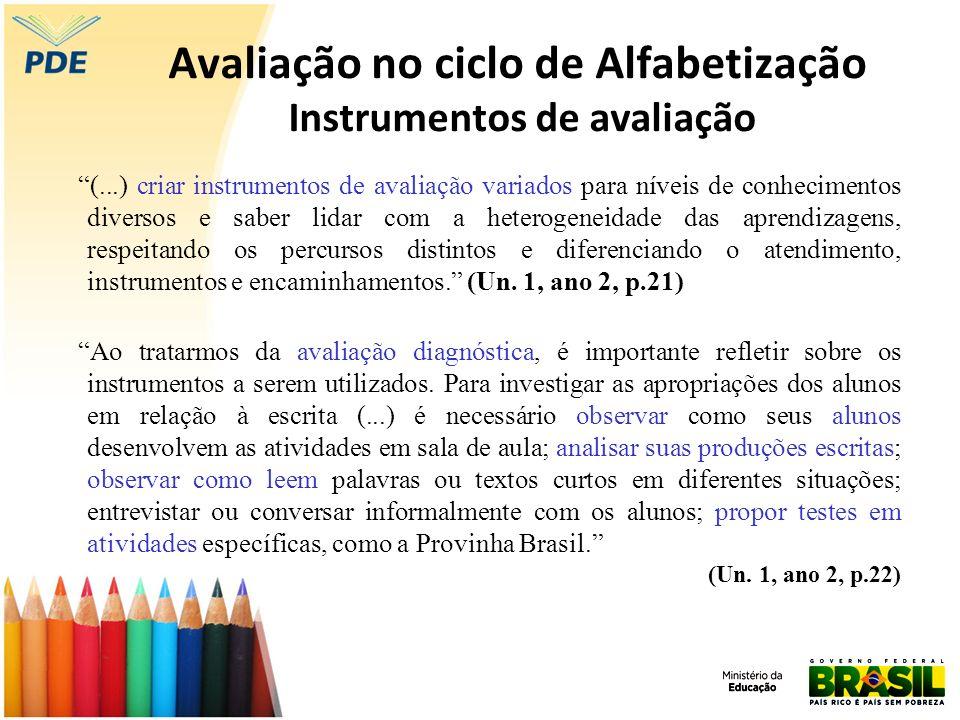Avaliação no ciclo de Alfabetização Instrumentos de avaliação