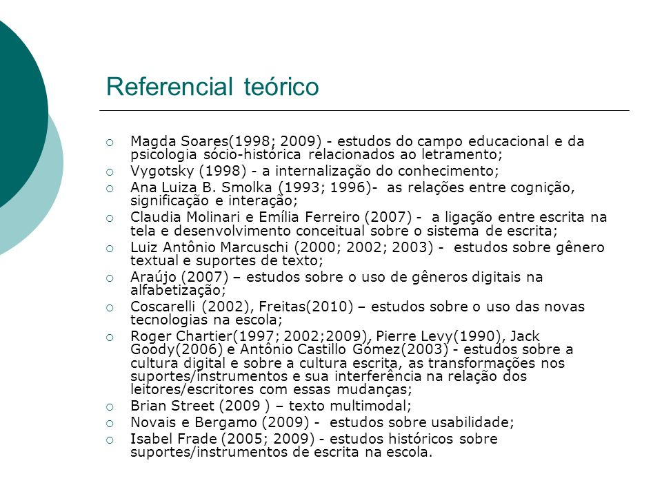 Referencial teórico Magda Soares(1998; 2009) - estudos do campo educacional e da psicologia sócio-histórica relacionados ao letramento;