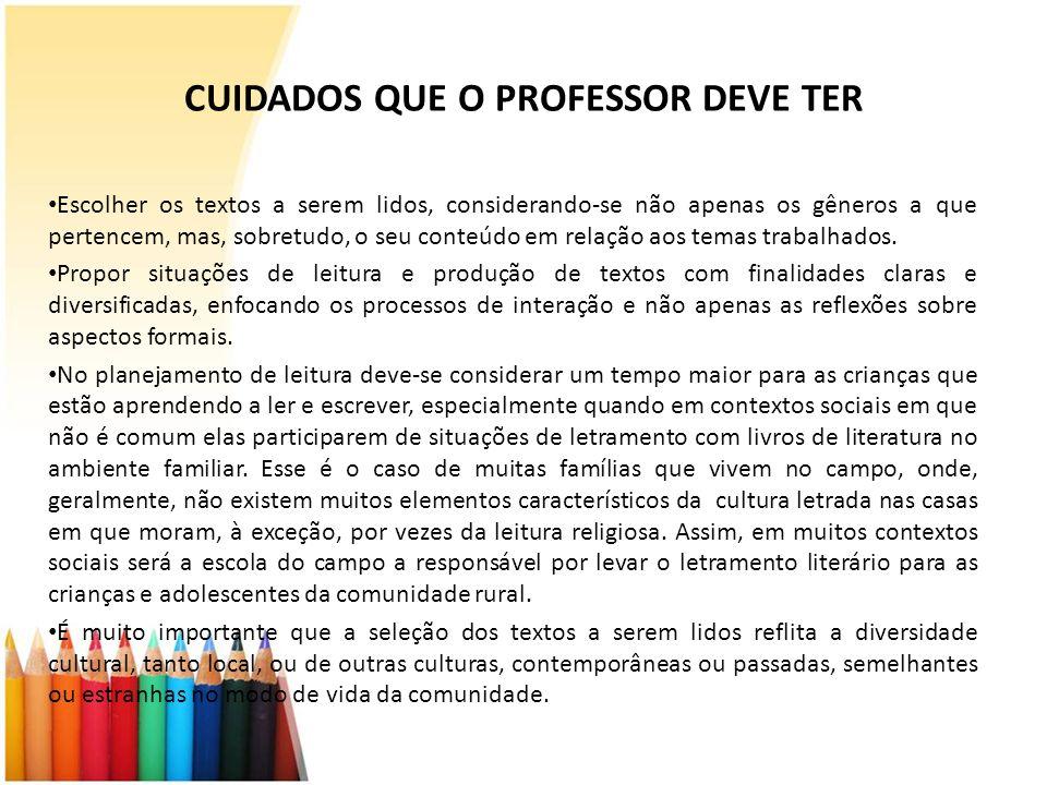 CUIDADOS QUE O PROFESSOR DEVE TER