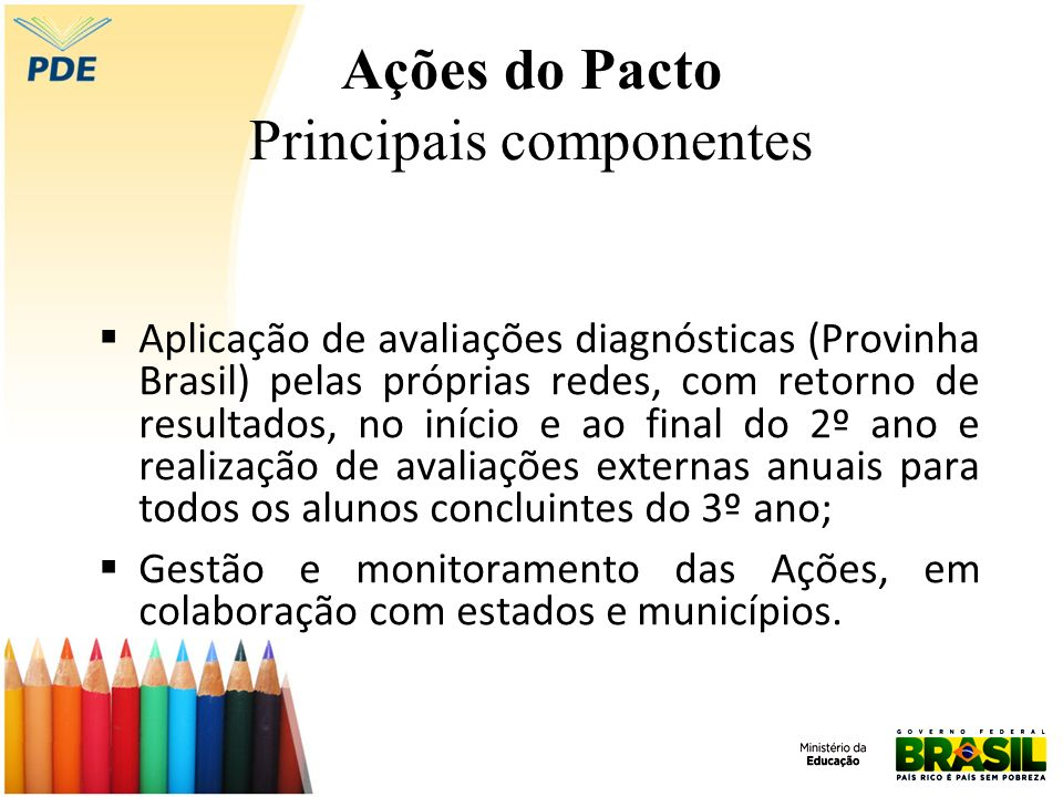 Ações do Pacto Principais componentes