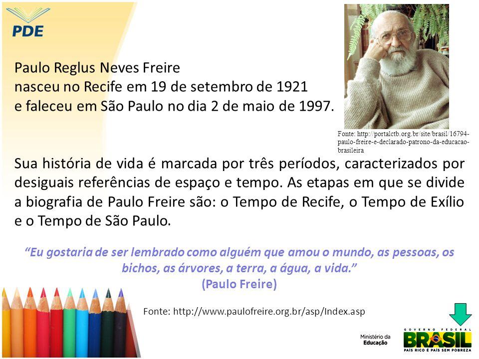 Paulo Reglus Neves Freire nasceu no Recife em 19 de setembro de 1921