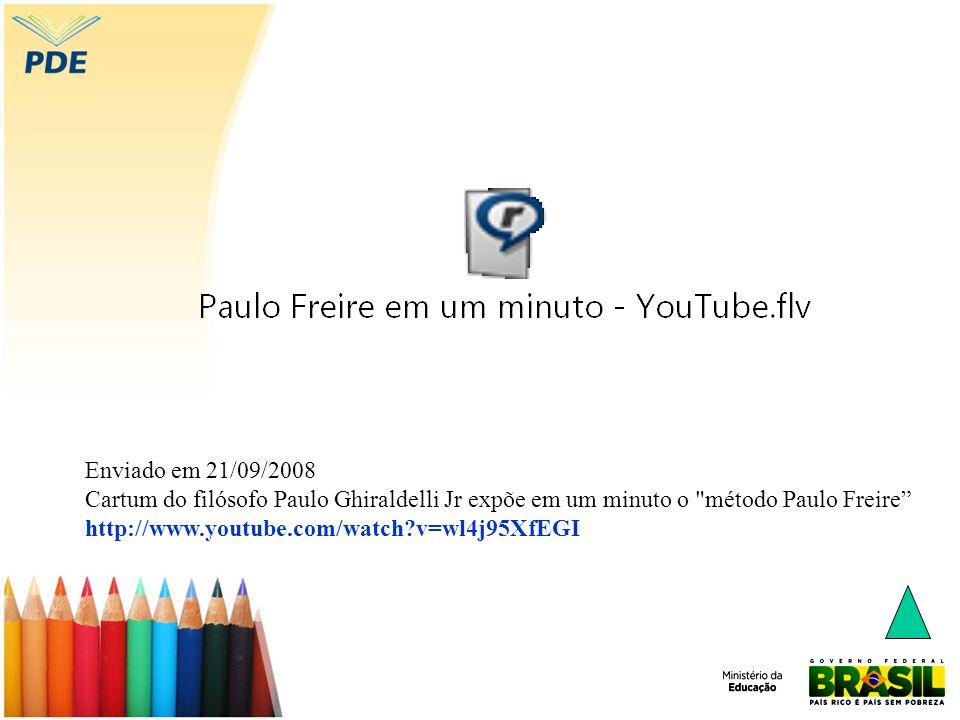 Enviado em 21/09/2008 Cartum do filósofo Paulo Ghiraldelli Jr expõe em um minuto o método Paulo Freire