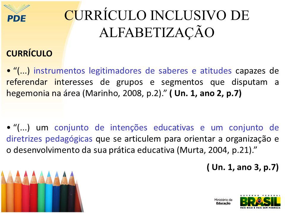 CURRÍCULO INCLUSIVO DE ALFABETIZAÇÃO