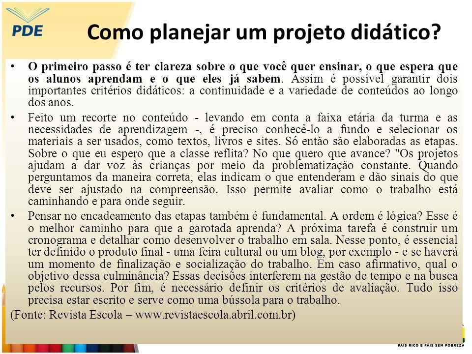 Como planejar um projeto didático