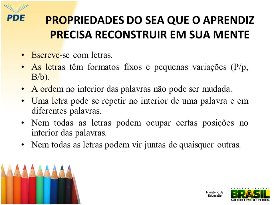 PROPRIEDADES DO SEA QUE O APRENDIZ PRECISA RECONSTRUIR EM SUA MENTE