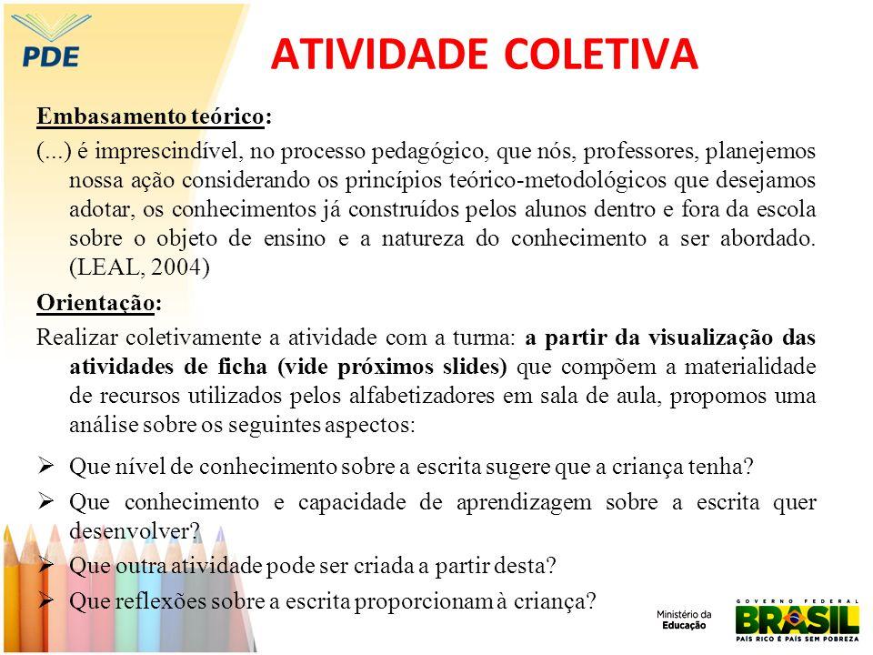 ATIVIDADE COLETIVA Embasamento teórico: