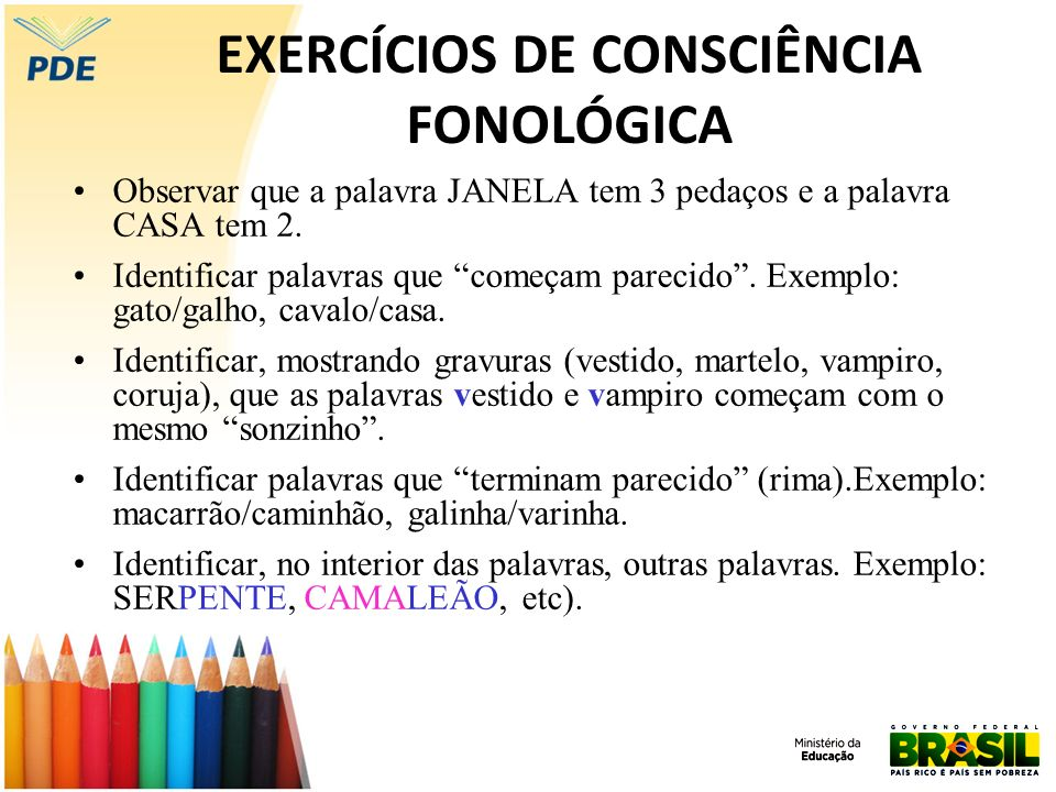 EXERCÍCIOS DE CONSCIÊNCIA FONOLÓGICA
