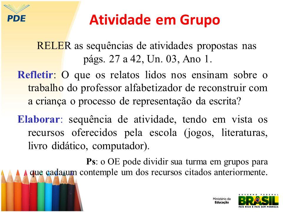 Atividade em Grupo RELER as sequências de atividades propostas nas págs. 27 a 42, Un. 03, Ano 1.