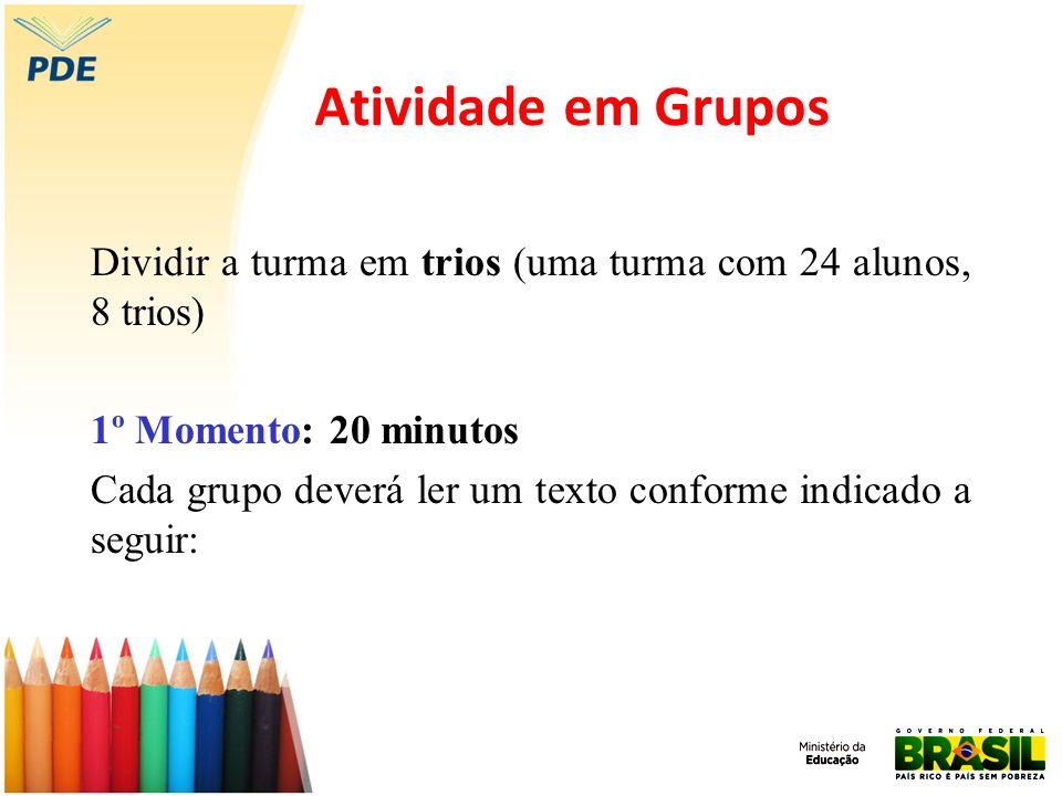 Atividade em Grupos Dividir a turma em trios (uma turma com 24 alunos, 8 trios) 1º Momento: 20 minutos.