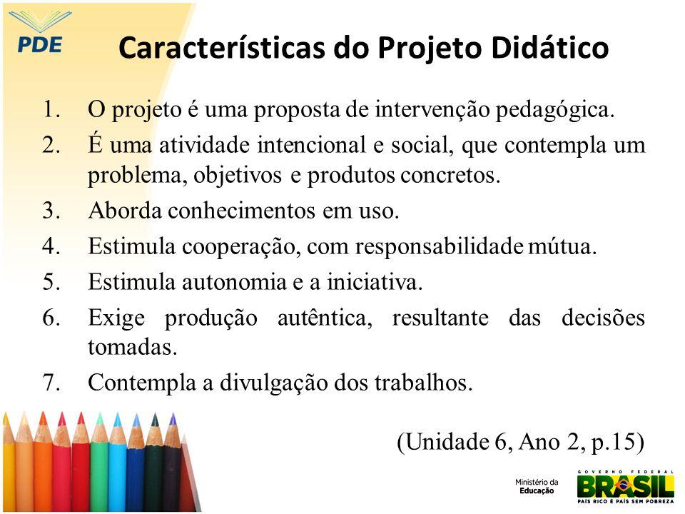 Características do Projeto Didático