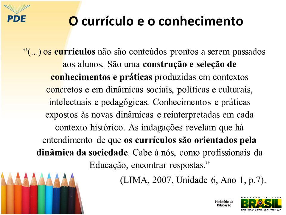O currículo e o conhecimento