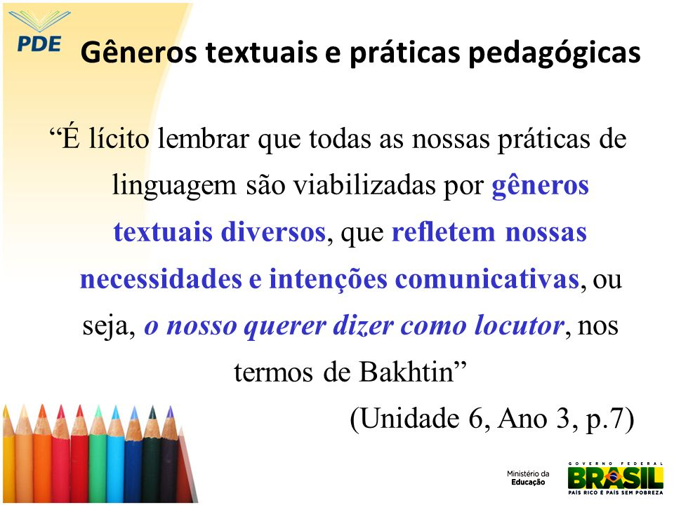 Gêneros textuais e práticas pedagógicas