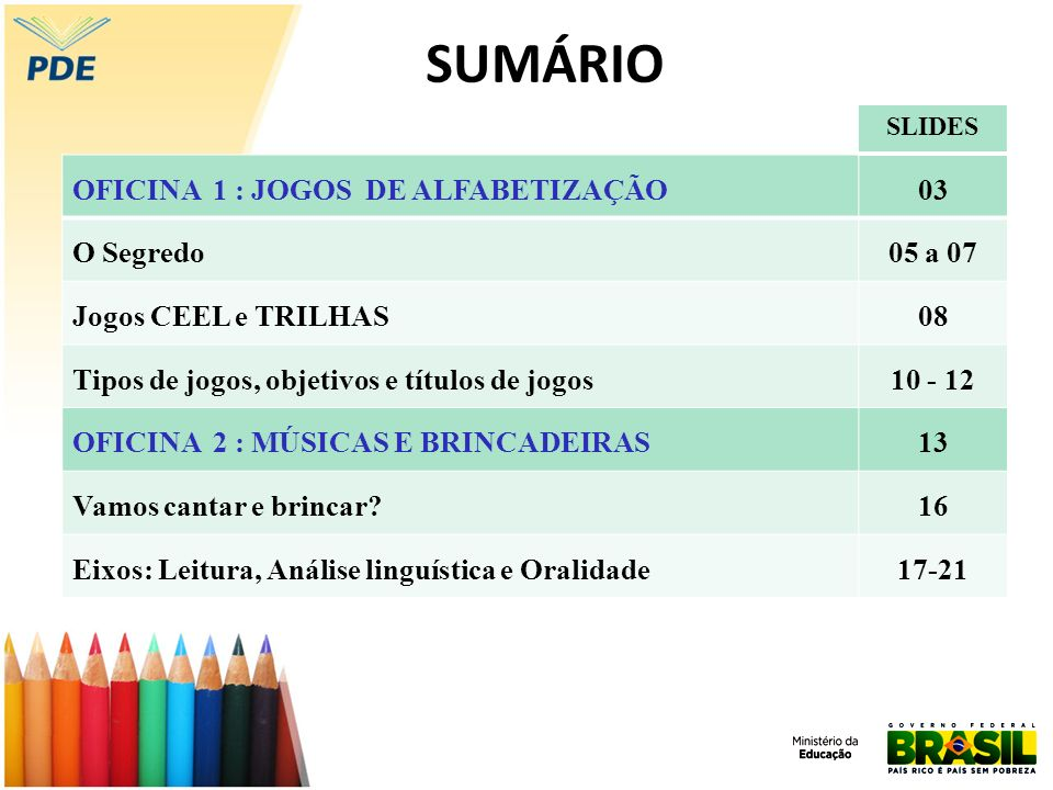 SUMÁRIO OFICINA 1 : JOGOS DE ALFABETIZAÇÃO 03 O Segredo 05 a 07