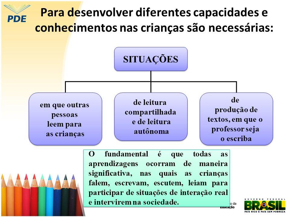 Para desenvolver diferentes capacidades e conhecimentos nas crianças são necessárias:
