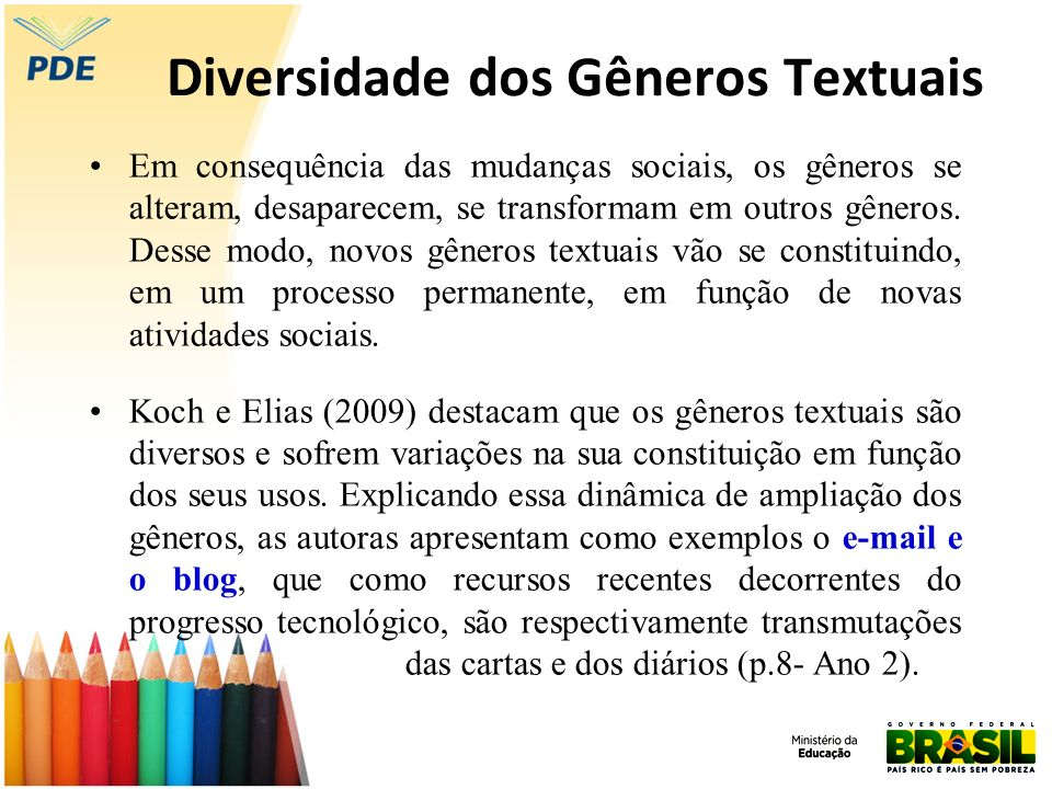 Diversidade dos Gêneros Textuais