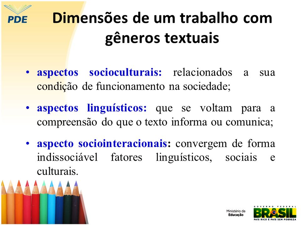 Dimensões de um trabalho com gêneros textuais