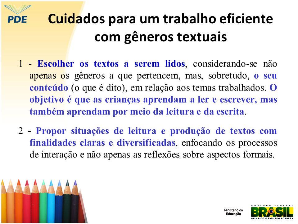 Cuidados para um trabalho eficiente com gêneros textuais