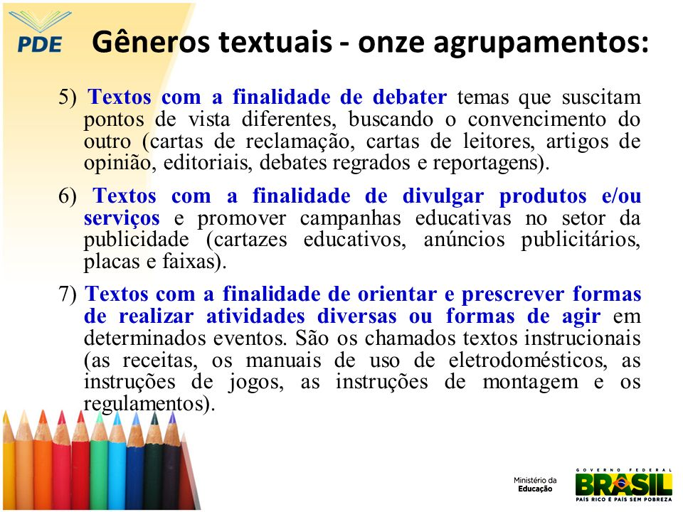Gêneros textuais - onze agrupamentos: