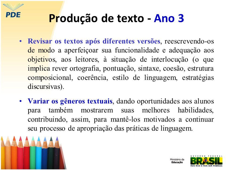 Produção de texto - Ano 3