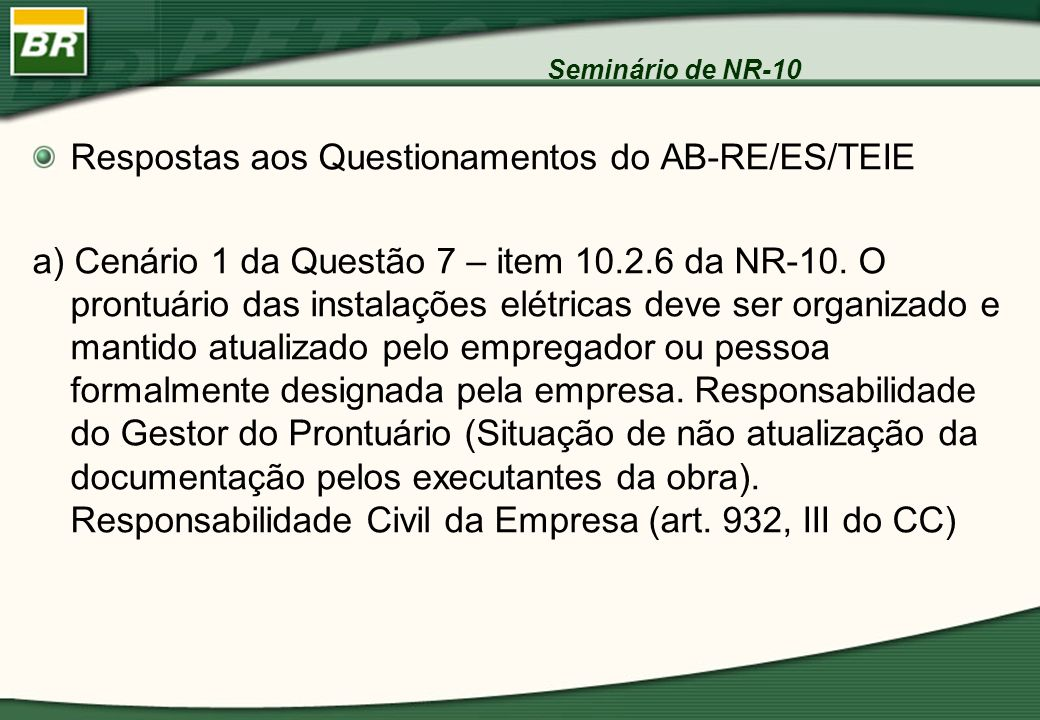 Respostas aos Questionamentos do AB-RE/ES/TEIE