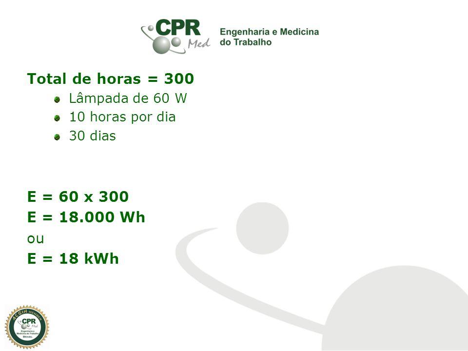 Total de horas = 300 E = 60 x 300 E = 18.000 Wh ou E = 18 kWh