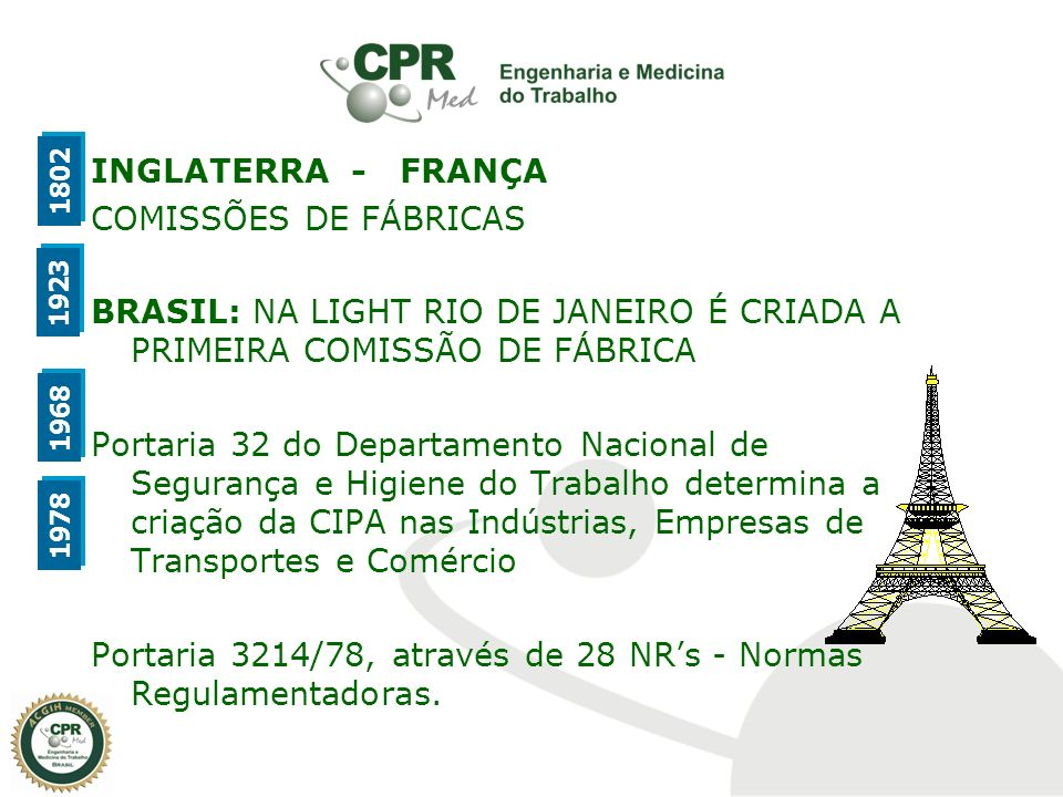 INGLATERRA - FRANÇA COMISSÕES DE FÁBRICAS BRASIL: NA LIGHT RIO DE JANEIRO É CRIADA A PRIMEIRA COMISSÃO DE FÁBRICA Portaria 32 do Departamento Nacional de Segurança e Higiene do Trabalho determina a criação da CIPA nas Indústrias, Empresas de Transportes e Comércio Portaria 3214/78, através de 28 NR's - Normas Regulamentadoras.