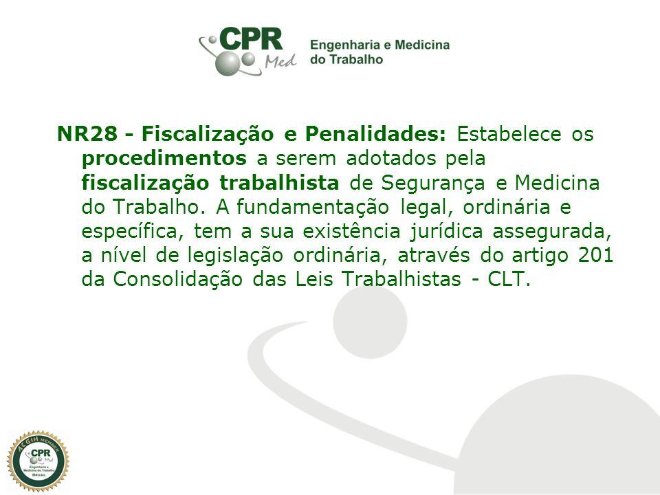 NR28 - Fiscalização e Penalidades: Estabelece os procedimentos a serem adotados pela fiscalização trabalhista de Segurança e Medicina do Trabalho.