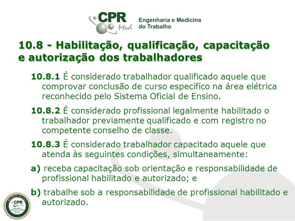 10.8 - Habilitação, qualificação, capacitação e autorização dos trabalhadores