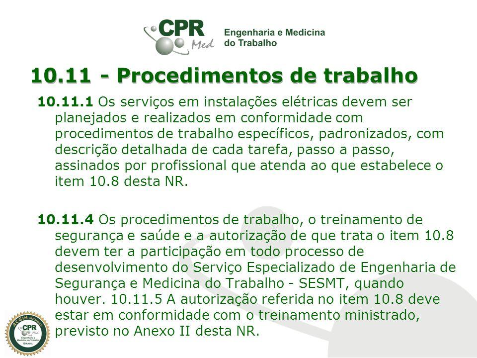 10.11 - Procedimentos de trabalho