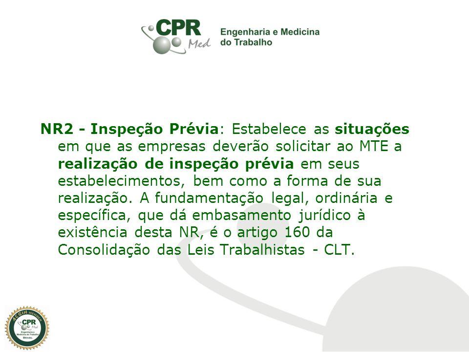 NR2 - Inspeção Prévia: Estabelece as situações em que as empresas deverão solicitar ao MTE a realização de inspeção prévia em seus estabelecimentos, bem como a forma de sua realização.