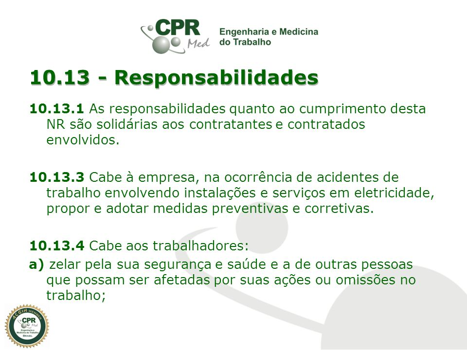 10.13 - Responsabilidades
