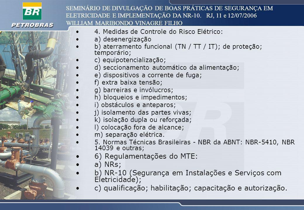 6) Regulamentações do MTE: a) NRs;
