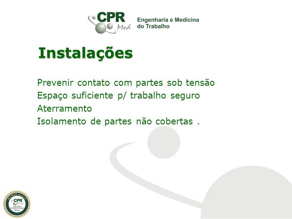 Instalações Prevenir contato com partes sob tensão Espaço suficiente p/ trabalho seguro Aterramento Isolamento de partes não cobertas .