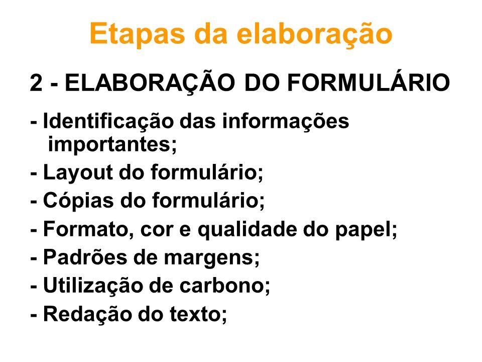 Etapas da elaboração 2 - ELABORAÇÃO DO FORMULÁRIO