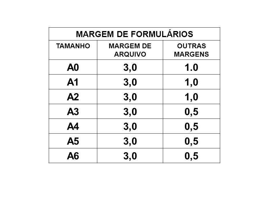 A0 3,0 1.0 A1 1,0 A2 A3 0,5 A4 A5 A6 MARGEM DE FORMULÁRIOS TAMANHO