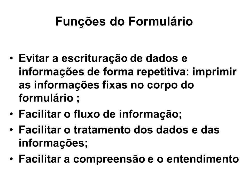 Funções do Formulário Evitar a escrituração de dados e informações de forma repetitiva: imprimir as informações fixas no corpo do formulário ;