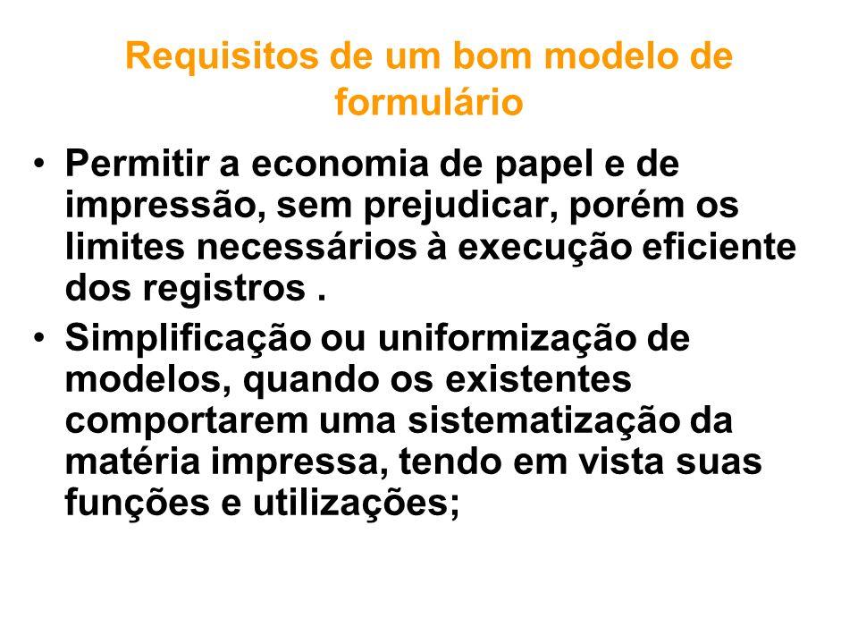 Requisitos de um bom modelo de formulário