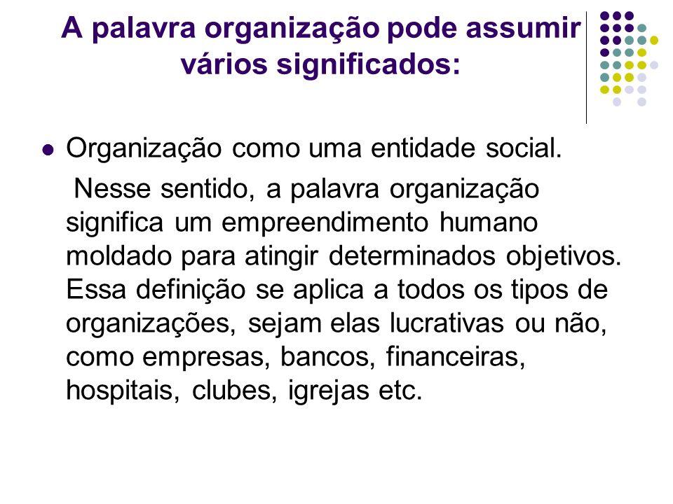 A palavra organização pode assumir vários significados: