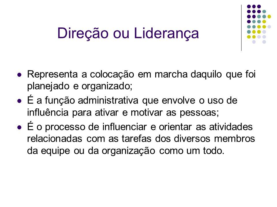 Direção ou Liderança Representa a colocação em marcha daquilo que foi planejado e organizado;