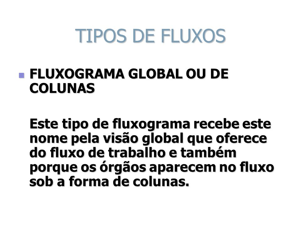 TIPOS DE FLUXOS FLUXOGRAMA GLOBAL OU DE COLUNAS