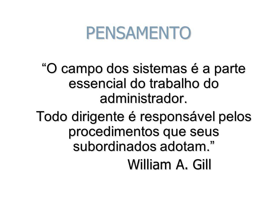 PENSAMENTO O campo dos sistemas é a parte essencial do trabalho do administrador.